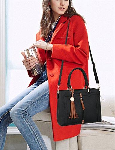 Bolsos de señora Xinmaoyuan señoras bolso de gran capacidad Retro paquete paquete Diagonal Plaza Pequeña bolsa Pu Negro