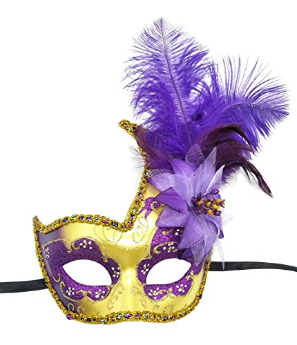 Feather Masquerade Mask Halloween Mardi Gras Cosplay Costumes Venetian Mask Party Mask (Purple)