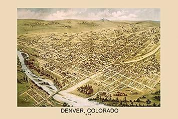 Amazon Com Map Of 1874 Denver Colorado Bird Eye View American Usa