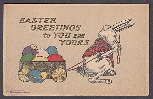 (Easter Greetings bunny pulling eggs in cart postcard 1910s )