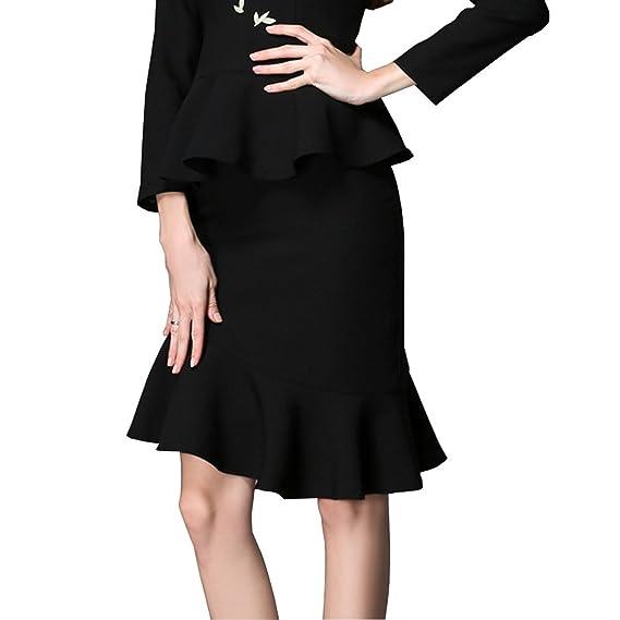 Falda negra OU Grid de talla grande para mujer, asimétrica con ...