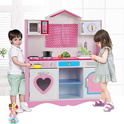 Costzon Kitchen Play Set, Large Toy Kitchen for Pretend Cooking Play, Deluxe Toddler Kitchen with a Small Window, Perfect Present for Girls and Boys