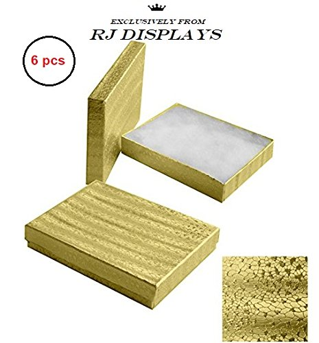 Foil Jewelry Gift Boxes - 6 Pack Cotton Filled Gold Foil Jewelry Necklace Bracelets Watch Choker Gift Retail Size 7 1/8 x 5 1/8 x 1 1/8 Inch - by R J Displays
