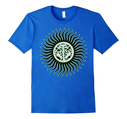 Men's Crescent Lime Green Sun Rays - Abstract Art Shirts Small Royal Blue