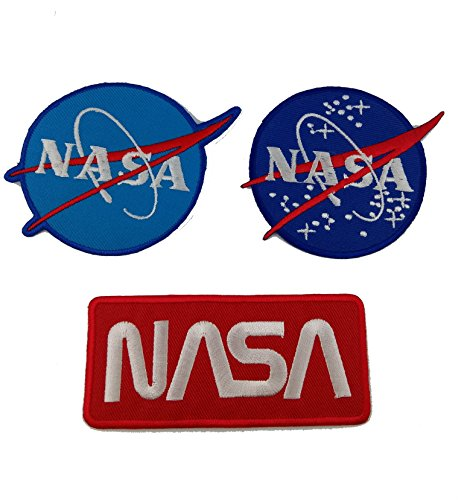 [Pack of 3 NASA Iron on Patches Special Super Save Pack by Alek.k] (Super Nerdy Costume)
