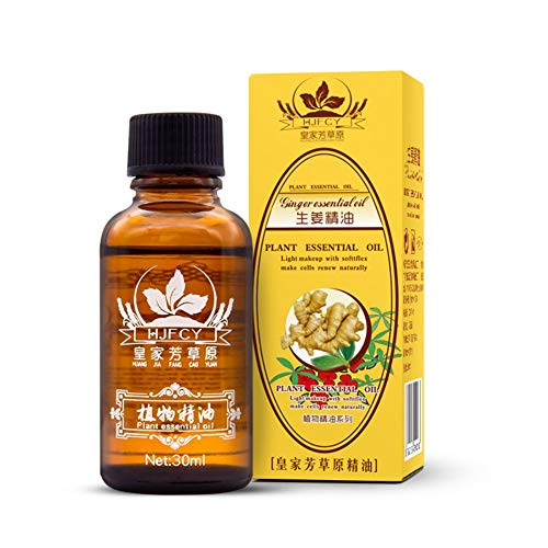 Escolourful Ginger Essential Oil Natural Drainage Ginger Oil SPA Ginger Massage Oils (Ship from USA)
