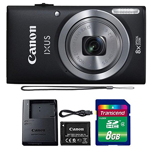 Canon IXUS 185 / ELPH 180 20MP Black Compact Digital Camera with 8GB SDHC Memory Card ()