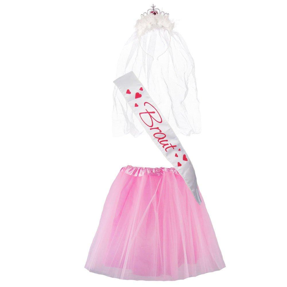 """Partybob JGA-Kost/üm /""""Braut/"""" Junggesellinnenabschied-Verkleidung 32-36, Pink//Rosa"""