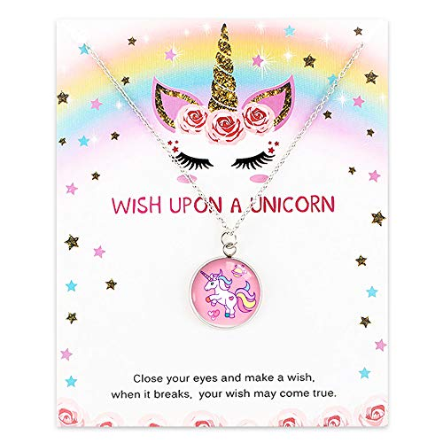 All Things Jaz-ze Unicorn Necklaces for Little Girls Birthday,Sleepover Parties - Cute Colorful Rainbow Fairy Tale Pendant Jewelry Wish Gifts for Kids, Best Friends - (Unicorn Horse)