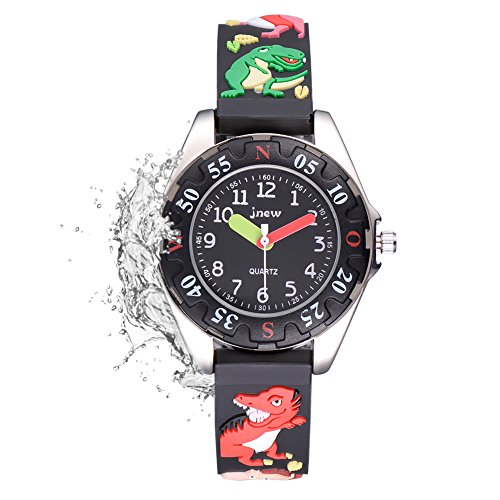 Price comparison product image FoMass Gifts for 3-10 Year Old Boys Girls, 3D Cute Cartoon Waterproof Silicone Kids Watches Children Toddler Wrist Watches, Toys for 5-12 Year Old Boys Girls Birthday(black dinosaur)