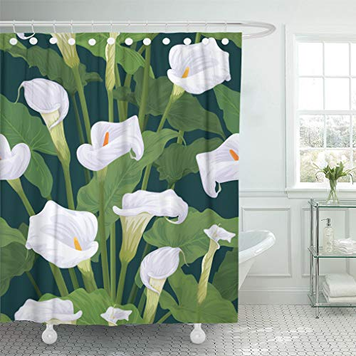 Calla Bordered Lilies (Emvency Shower Curtain White Antique Calla Lily Flowers Leaves on Dark Shower Curtains Sets Hooks 60 x 72 Inches Waterproof Polyester Fabric)