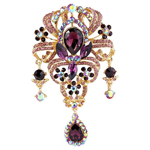 EVER FAITH Women's Austrian Crystal 3.8 Inch Vintage Style Teardrop Flower Brooch Dark Purple Gold-Tone (Tone Pin Gold Vintage Flower)