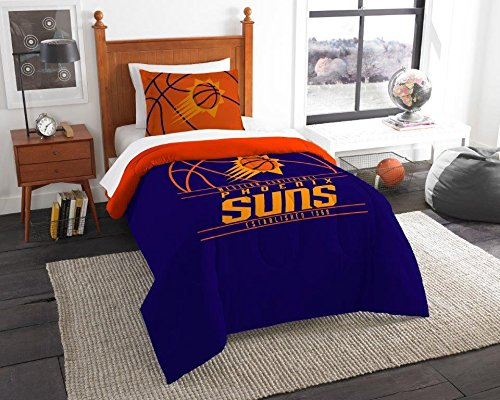 (Phoenix Suns - 2 Piece TWIN Size Printed Comforter Set - Entire Set Includes: 1 Twin Comforter (64