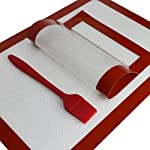 J&Jonson 2 Silicone Baking Mats With Basting Brush | Non Toxic, Non Stick, Odorless, Reusable, Flexible & Freezer Safe Cooking Sheets | For Cooling, Bread, Pastry, Healthy Food, Macaroons & More 5 BLACK FRIDAY DEAL - MINIMIZE GREASE - MAXIMIZE EATING PLEASURE: Enjoy your favorite foods without any calorie guilt. Place these nonstick silicone sheets in your cooking tray and worry no more about adding oils or butter. Eat healthy, crispy and delicious food. No parchment papers, no aluminum foils, no mess. They are BPA FREE, ODORLESS, FLEXIBLE AND REUSABLE UP TO 4000 TIMES. EACH DELUXE COOKING PACK INCLUDES: 2 different size baking silicone sheets. Accommodate even your most demanding needs and cook like a professional chef from this day on. The big mat measures 16.5 X 11.6 X 0.02 inches (42*29.5*0.07cm) and the small one 11.8 X 7.8 X 0.02 inches (30*20*0.07cm). BAKE GRILL & COOK ANYTHING YOU WANT: Explore the versatile nature of J&Johnson silicone baking sheets today. Use them for food display and cooling, dough rolling, cookie sheet liner and freezer storage. Great for homemade bread, pastry, finger food, macaroons, meat delis, grilling, BBQ fiestas, pies, tarts and more.
