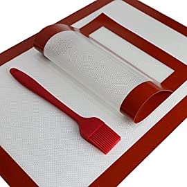 J&Jonson 2 Silicone Baking Mats With Basting Brush | Non Toxic, Non Stick, Odorless, Reusable, Flexible & Freezer Safe Cooking Sheets | For Cooling, Bread, Pastry, Healthy Food, Macaroons & More 29 BLACK FRIDAY DEAL - MINIMIZE GREASE - MAXIMIZE EATING PLEASURE: Enjoy your favorite foods without any calorie guilt. Place these nonstick silicone sheets in your cooking tray and worry no more about adding oils or butter. Eat healthy, crispy and delicious food. No parchment papers, no aluminum foils, no mess. They are BPA FREE, ODORLESS, FLEXIBLE AND REUSABLE UP TO 4000 TIMES. EACH DELUXE COOKING PACK INCLUDES: 2 different size baking silicone sheets. Accommodate even your most demanding needs and cook like a professional chef from this day on. The big mat measures 16.5 X 11.6 X 0.02 inches (42*29.5*0.07cm) and the small one 11.8 X 7.8 X 0.02 inches (30*20*0.07cm). BAKE GRILL & COOK ANYTHING YOU WANT: Explore the versatile nature of J&Johnson silicone baking sheets today. Use them for food display and cooling, dough rolling, cookie sheet liner and freezer storage. Great for homemade bread, pastry, finger food, macaroons, meat delis, grilling, BBQ fiestas, pies, tarts and more.