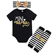 BabyTop 2018 New Infants Baby Girls Clothes, Summer Baby Letters Short-Sleeved Romper + Leg Warmer + Headband 3 Sets (Black, 6~12 Month)