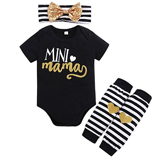 New Girls Summer Clothes - BabyTop 2018 New Infants Baby Girls Clothes, Summer Baby Letters Short-Sleeved Romper + Leg Warmer + Headband 3 Sets (Black, 0~6 Month)