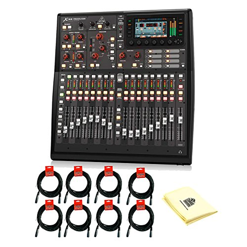 Bus Recording 8 Console (Behringer X32PRODUCER 40-Input, 25-Bus Rack-Mountable Digital Mixing Console with 8 XLR Microphone Cables and Zorro Sounds Mixing Console Cleaning Cloth)