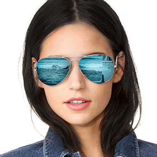 Aviator Sunglasses Mirrored for Women Polarized with Large Metal Frame- UV 400 Protection(Silver Frame/Blue Lens(Mirror))