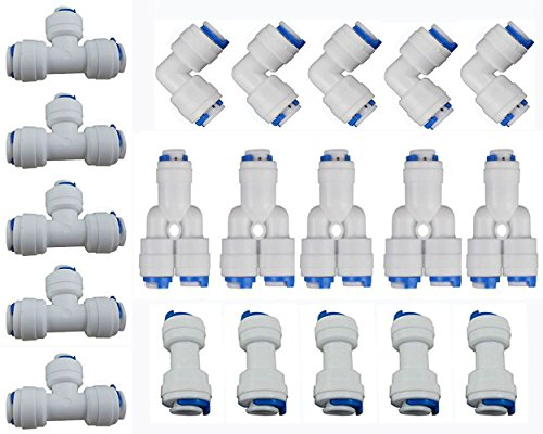 "Neeshow 1/4"" OD Quick Connect Push In to Connect Water Tube Fitting Set Of 20 (Y+T+I+L Type Combo)"