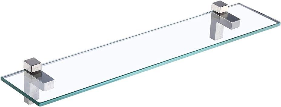 KES Glass Shelf Bathroom Shelf 8MM Thick Tempered Glass Caddy Shelf Organizer 23.6 Inch Wall Mount Rectangular Polished Chrome Brackets BGS3201S60