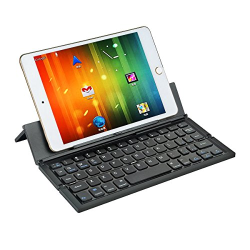 LEANINGTECH Portable Foldable Bluetooth Keyboard Aluminum Metal Collapsible Keypad with Kickstand Holder Phone Holder for iPhone, iPad, Samsung, Android, Windows Device-Black by LEANINGTECH