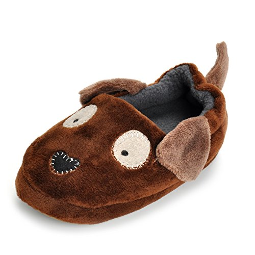 ESTAMICO Toddler Boys Doggy Slippers Cartoon Puppy Warm Winter House Shoes, Coffee, US 9-10 M