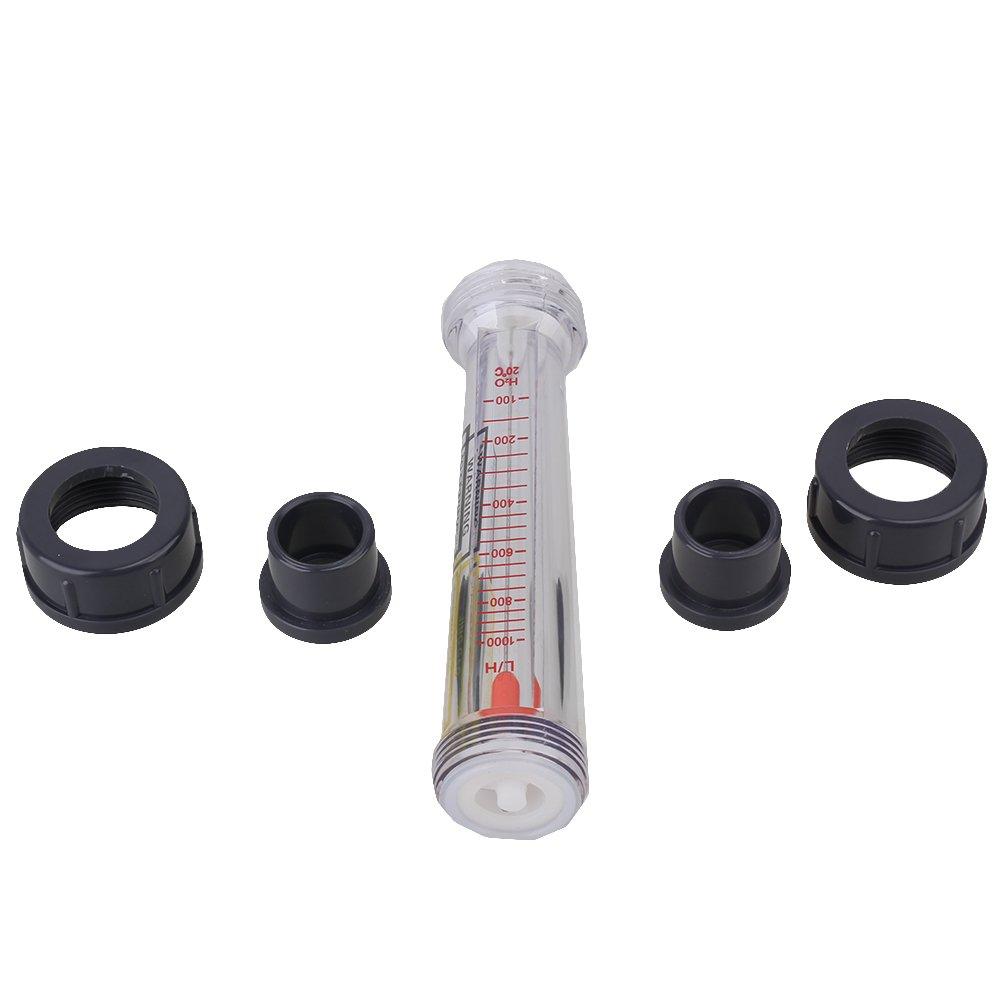 Grau klarer 15mm Stecker 100-1000L H Pipeline-Durchflussmesser f/ür Wasserfl/üssigkeits-Durchflussmesser