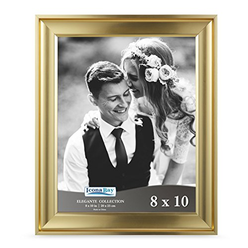 Icona Bay 8x10 Picture Frame (1 Pack, Gold), Gold Photo Frame 8 x 10, Wall Mount or Table Top, Set of 1 Elegante Collection