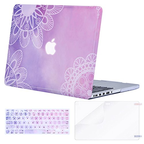 MOSISO Plastic Pattern Hard Case Only Compatible MacBook Pro (W/O USB-C) Retina 13 Inch (A1502/A1425)(W/O CD-ROM) Release 2015/2014/2013/end 2012 & Keyboard Cover & Screen Protector,Watercolor Mandala