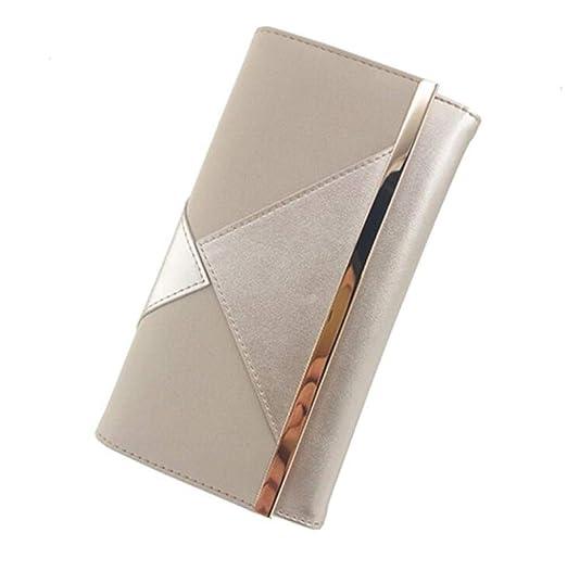 zlyhk Bolso De Cuero Silver Suede PU Patchwork Diseño De ...