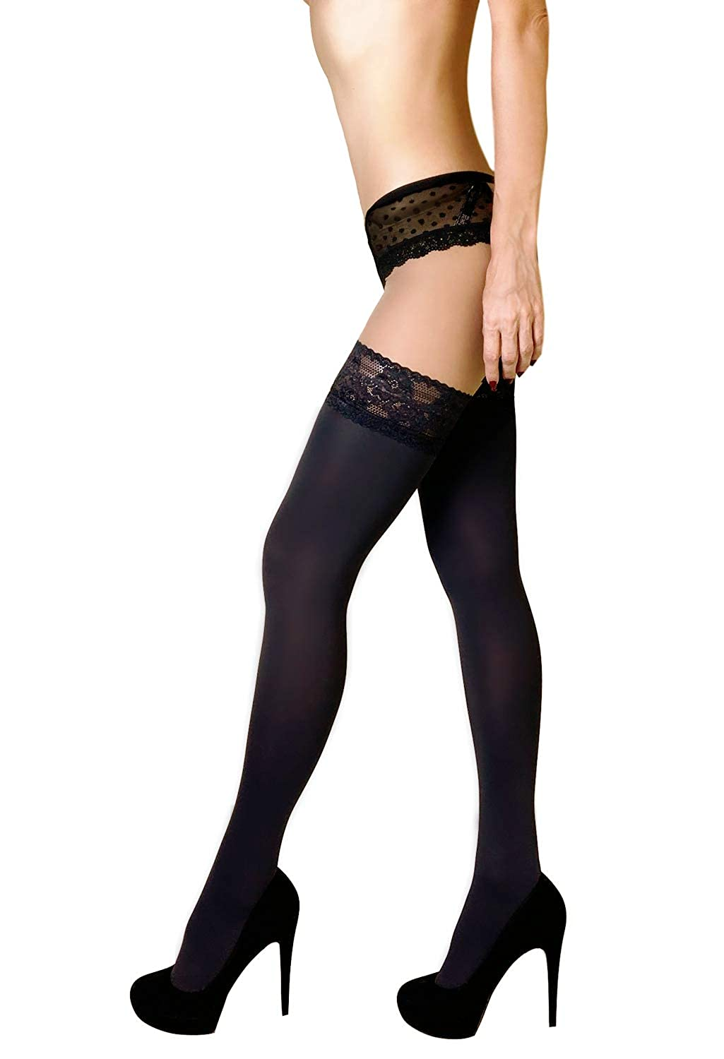 MILA MARUTTI Thigh High Opaque Lace Top Silicone Stockings Nylons 40 Den
