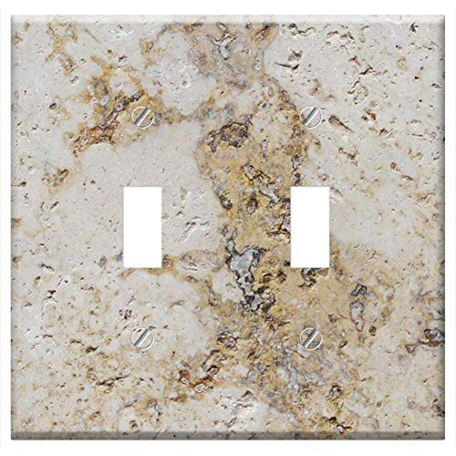 (Switch Plate Double Toggle - Background Stone Pattern Rock Wall Surface Rough)
