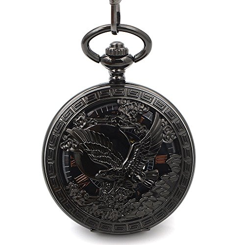 (Skeleton Classic Steampunk Pocket Watch US Eagle Emblem Army Mens Black Fashion Vintage Hand Wind Mechanical Pocket Watch Gift)