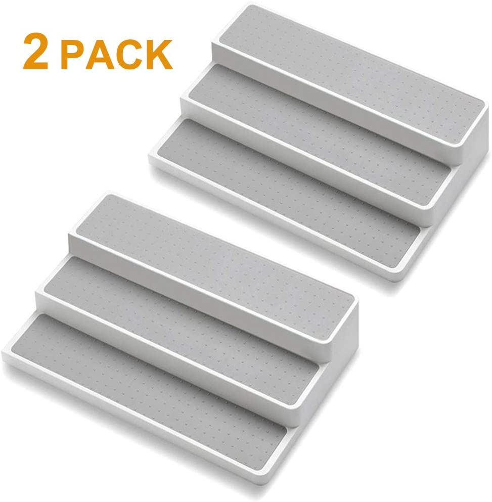 Sooyee 2 Pack Non-Skid 3-Tier Spice Pantry Kitchen Cabinet Organizer, 14.5 Inch Modern Pantry Cabinet Organizer Stand Countertop, White