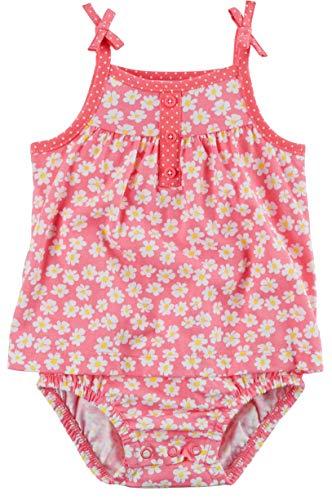 (Carter's Girl's Daisy Floral Tie Shoulder Sunsuit; Pink & White (6M))