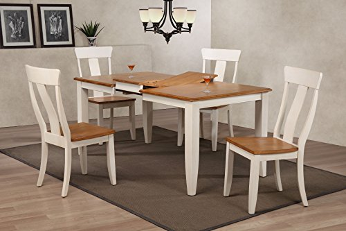 "Iconic Furniture 5 Piece Rectangle Panel Back Dining Set, 36"" x 52"" x 67"", Antiqued Caramel/Biscotti"