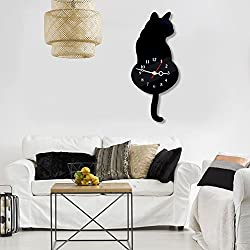 Shsyue Wall Clock Cat Shaped, Ultra-Quiet Acrylic Pendulum Tail Wobbling Home Office Décor (Black)