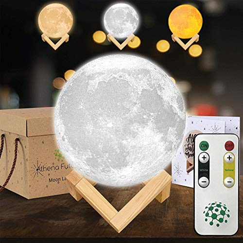 Moon Lamp Moon Light 3D Moon Lamp - [USA Seller] [Upgrade] 3 Color Moon Night Light with Stand - Mood Lamp Book, Globe, Cool Lamp, 5.9 in, USB Charging, with Wooden Stand, Box, Kids, Moonlight LED