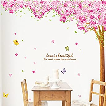Large Pink Sakura Flower Cherry Blossom Tree Wall Sticker Decals PVC  Removable Wall Decal For Nursery
