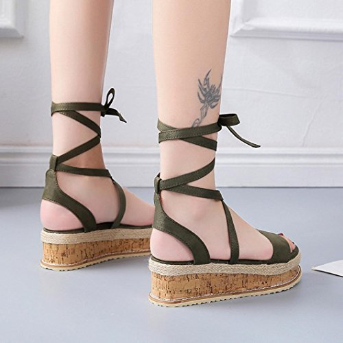 Vert Unie Bouche Sangle Femme Couleur Croisée Simple Chaussures épaisse Sandales Romaines Mode Poisson Bovake nq6wUBx4
