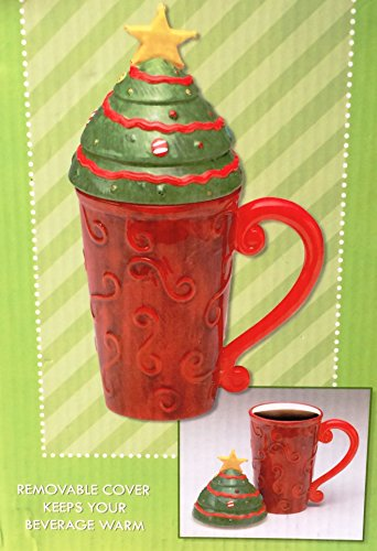 Bright Christmas Hand Painted Latte Mug with Removable Cover