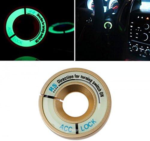 Nero//Nero brillante di accensione serratura copertura anello decorativo adesivo Anello Chiave fori protezione anello Start interruttore a pulsante in alluminio cornice si illumina al buio inion/®