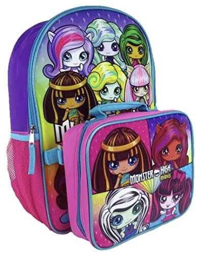 Monster High Minis Full Size Girls Backpack and Insulated Lunchbox Bag