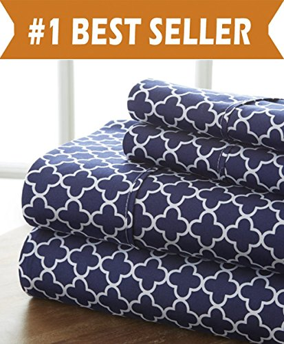 CELINE LINEN Luxury Silky Soft Coziest 1500 Thread Count Egyptian Quality 4-Piece Bed Sheet Set | |Quatrefoil Pattern| Wrinkle Free, 100% Hypoallergenic, King, Navy