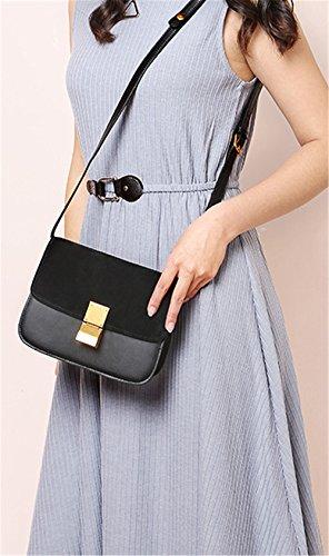 Bolsos de señora Xinmaoyuan Scrub convertido Fur bolsos de cuero Tofu Paquete Pequeño Paquete Retro,azul Negro