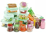 Kinetic 11432 Go Green Glassworks Series 34 Piece Set Glass Food Storage Container with Lid and Mini Jar, Clear