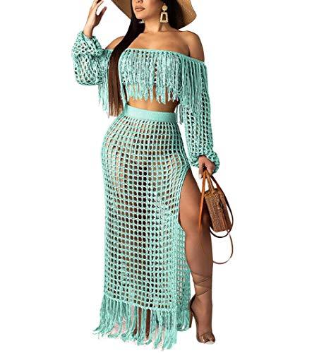 Women Two Piece Skirt Set - Tassel Hollow Out Off Shoulder High Split Cover Up Bikini Beach Dresses Blue M