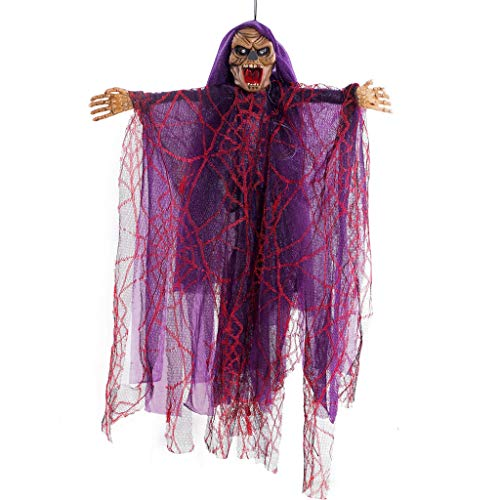 Ghoul Faces Halloween (Fine Hanging Halloween Decoration Animated Floating Ghoul Ghost Skeleton Face Noise Making Ghost Skeleton, Holiday Party Decoration)