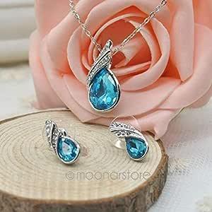 مجموعة مجوهرات من عناصر سواروفسكي زرقاء مطلية بالذهب الأبيض